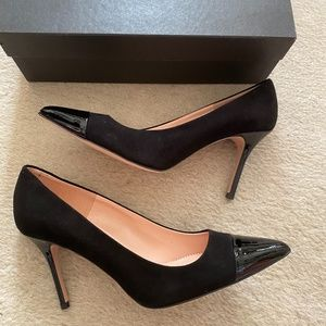 J.CREW Elsie suede pumps with patent leather toe